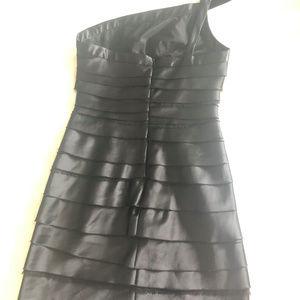 BCBG Dresses - BCBG One Shoulder Tiered Black Cocktail Dress Sz4